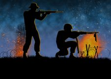 Vietnam war image with US soldier silhouette. Vietnam war image with2 US soldier silhouette on a battlefield. Night time scene. Shooting their weapons. Original vector illustration