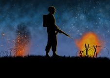 Vietnam war image with US soldier silhouette. On a battlefield. Nights scene with explosions. Original illustration vector illustration