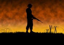 Vietnam war image with US soldier silhouette. On a battlefield. Original illustration stock illustration