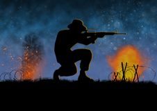 Vietnam war image with US soldier silhouette. On a battlefield. Special forces. Night time and explosions. Original illustration royalty free illustration