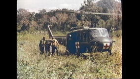 Vietnam War - Injured US soldier is transport with ambulance helicopter stock footage