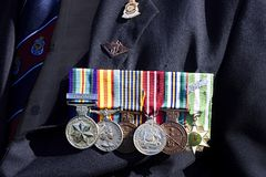 Vietnam War medals of Australian veteran. Every year on 25th April, Anzac day, the Australian and New Zealand soldiers who have fallen in numerous wars are Stock Images