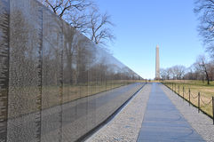 Vietnam War Memorial with Lincoln Memorial in Background Stock Photo