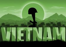 Vietnam War, veterans and remembrance banner. Vietnam War, remembrance day banner with dates. Helmet on a rifle. Mountains and sun background. Green color stock illustration