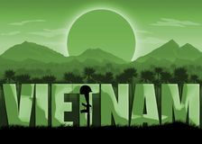 Vietnam War, US veterans and remembrance banner. Vietnam War, remembrance day banner with dates. Mountains and sun background. Green color scheme royalty free illustration