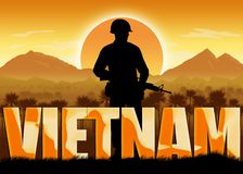 Vietnam War, veterans and remembrance banner. Vietnam War, remembrance day banner with dates. Soldier holding a gun. Mountains and sun background. Orange color stock illustration