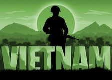 Vietnam War, US veterans banner. Vietnam War, remembrance day banner. Soldier with automatic rifle. Mountains and sun background. Green color scheme vector illustration