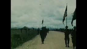 Vietnam War – U.S. 101st Airborne Division marching up a road. Vietnam War. US Army. US soldiers doing medical care on vietnamese civilians stock video
