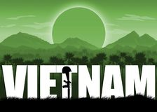 Vietnam War, US veterans and remembrance banner. Vietnam War, remembrance day banner with dates. Mountains and sun background. Green color scheme stock illustration