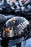 Vietnam war veteran motorcycle helmet on motorcycle royalty free stock image