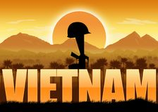 Vietnam War, veterans and remembrance banner. Vietnam War, remembrance day banner with dates. Helmet on a rifle. Mountains and sun background. Orange color vector illustration