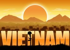 Vietnam War, veterans and remembrance banner. Vietnam War, remembrance day banner with dates. Helmet on a rifle. Mountains and sun background. Orange color royalty free illustration
