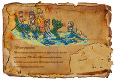 Vietnam - Water puppetry. Hand drawing. Royalty Free Stock Images