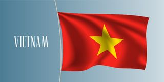 Vietnam waving flag vector illustration. Red color and star flag as a national Vietnamese symbol stock illustration