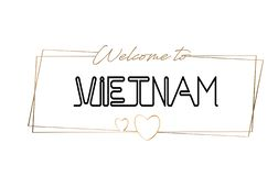 Vietnam  Welcome to text Neon lettering typography. Word for logotype, badge, icon, postcard, logo, banner Vector Illustration royalty free stock images