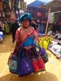 Vietnam woman. Women selling hand handbags in the market has mountains in bac ha Vietnam Stock Photography