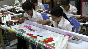 Vietnam women embroiderers at the work stock footage