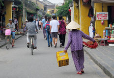Vietnam women sell fruits on the street Stock Images