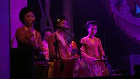 Vietnam Women singers in Ha Noi Puppet Theater stock video