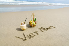 Vietnam written on the sand Royalty Free Stock Images