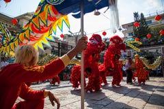 Vietname - 22 de janeiro de 2012: Dragon Dance Artists durante a celebração do ano novo vietnamiano Imagem de Stock