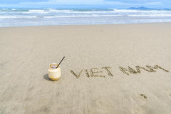 Vietname escrito na areia Fotografia de Stock