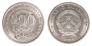200 Vietnamees dongmuntstuk Stock Foto