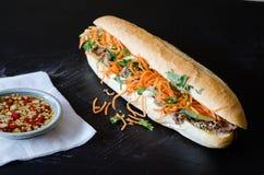 Vietnamees Varkensvlees Banh Mi Sandwich met Koriander en wortel het sluiten Stock Afbeelding