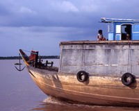 Vietnames Boat on Mekong Stock Photo