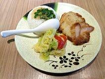 Vietnames grillad fläskkotlett med ris och grönsaker royaltyfri bild