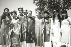 Vietnamese-American students. In traditional costume, Moorpark College, CA Stock Images