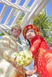 Vietnamese Amerikaanse huwelijksceremonie Royalty-vrije Stock Foto's