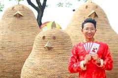 VIETNAMESE AO DAI. Boy wear traditional Ao Dai dress in lunar new year at Viet Nam Stock Image