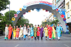 VIETNAMESE AO DAI. Boys and Girls wear traditional Ao Dai dress in lunar new year at Viet Nam Royalty Free Stock Image