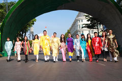 VIETNAMESE AO DAI. Boys and Grils wear traditional Ao Dai dress in lunar new year at Viet Nam Stock Photography