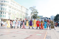 VIETNAMESE AO DAI. Boys and Grils wear traditional Ao Dai dress in lunar new year at Viet Nam Royalty Free Stock Photos