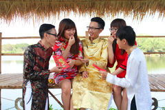 VIETNAMESE AO DAI. Boys and Grils wear traditional Ao Dai dress in lunar new year at Viet Nam Royalty Free Stock Image