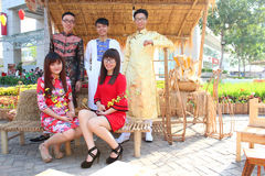 VIETNAMESE AO DAI. Boys and Grils wear traditional Ao Dai dress in lunar new year at Viet Nam Stock Image