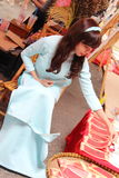 VIETNAMESE AO DAI. Grils wear traditional Ao Dai dress in lunar new year at Viet Nam Royalty Free Stock Photography