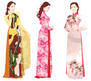 Vietnamese ao dai. Three beautiful young women dressed in Vietnamese traditional ao dai dresses. Vector illustration may be edited and re-sized without loosing Stock Images