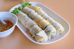 Vietnamese appetizer, vegetable springroll. Chinese appetizer , vegetable spring-roll  in a restaurant Royalty Free Stock Images