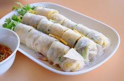 Vietnamese appetizer, vegetable springroll Stock Photos