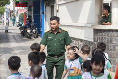 Vietnamese army officer in Ho Chi MInh city Royalty Free Stock Photography