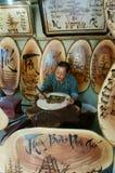 Vietnamese artist wood engraving, Genh Rang Stock Photo
