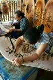 Vietnamese artist wood engraving, Genh Rang Royalty Free Stock Photography