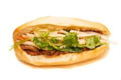 Vietnamese Bahn Mi Pork Sandwich On White Background Royalty Free Stock Image