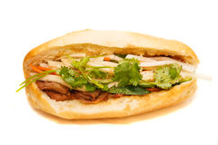 Vietnamese Bahn Mi Pork Sandwich on White Background Royalty Free Stock Image