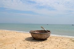 Vietnamese Basket Boat Royalty Free Stock Images