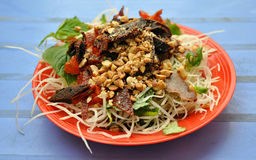 Vietnamese Beef Noodles. Vietnamese street food, beef and noodles stock photography