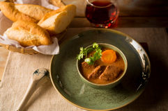 Vietnamese beef stew with carrot and fresh bread Stock Images